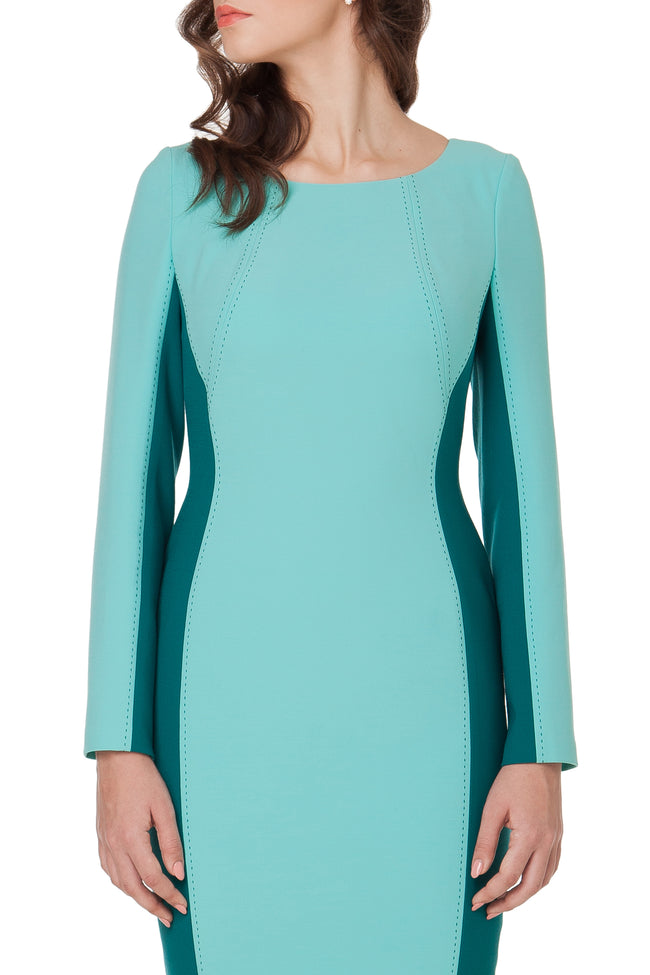 CHARLOTTE COLOR BLOCK BLUE DRESS