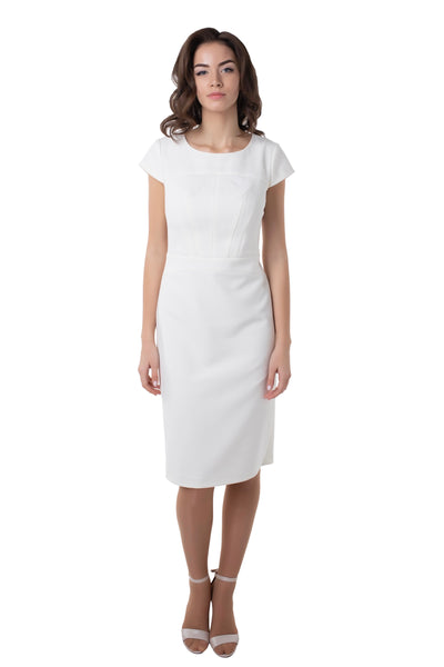WHITE CUP SLEEVE DRESS