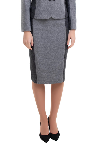 BARBARA TWO TONE GREY SKIRT