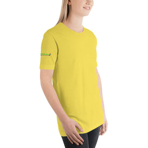 """Ladies Can Stroke It Like The Guys"" women's T-Shirt, yellow"