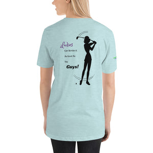 """Ladies Can Stroke It Like The Guys"" women's T-Shirt, blue"