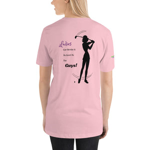 """Ladies Can Stroke It Like The Guys"" women's T-Shirt, pink"