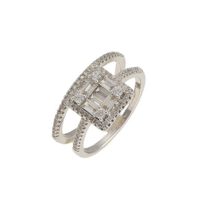 Double Step Central Solitaire Ring