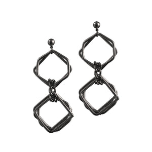 Mixed Squares Chain Earrings
