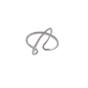 Crossed Single Line Ring
