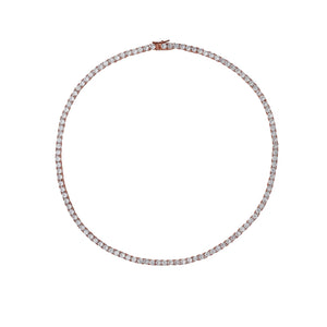High End Tennis Necklace Rose Gold Round 3MM