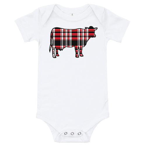 Outland Designs infant plaid cow onesie