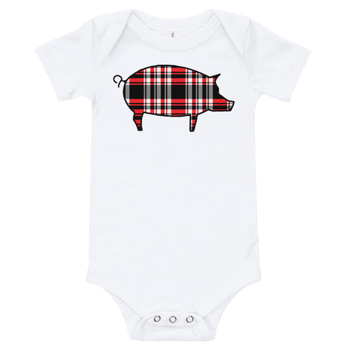 Outland Designs infant plaid pig onesie