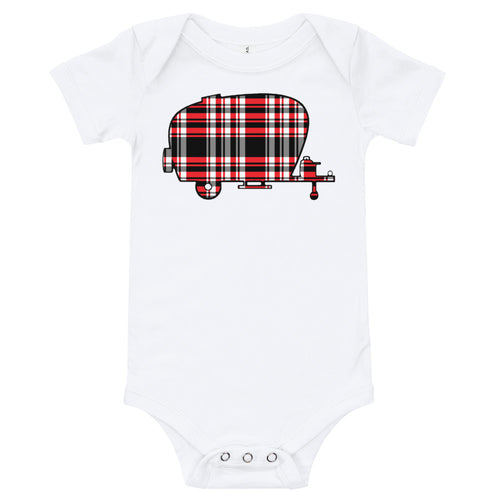 Outland Designs infant plaid trailer onesie