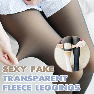 Sexy Fake Transparent Fleece Leggings