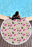 Flamingo 450G Round Beach Towel With Tassels Microfiber 150cm Picnic Blanket Beach Cover Up