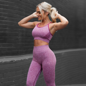 Fitness Workout Clothing Women's Gym Sports Running Slim Leggings+Tops Women Yoga Sets