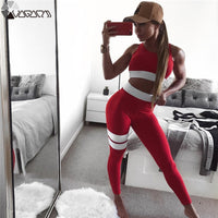 Women Yoga Set Patchwork Running Fitness Jogging T-shirt Leggings Sports Suit Gym Sportswear Workout Suits