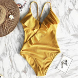 Sexy Solid Yellow One Piece Swimsuits For Female Women Print Floral Swimwear Bandage Backless Ruffle Brazilian Monokini