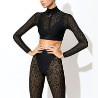Summer Lace Tracksuit Set Women Sexy Two Piece Set Leopard Long Sleeve Crop Top and Leggings Set Ladies Matching Set Outfits