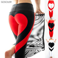 Women Yoga Leggings Love Heart-Shaped on Hip Patchwork Push UP Elastic High Waist Pants Fitness Running Gym Sports Leggings