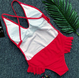 One Piece Swimsuit Sexy Woman Summer Beach Brazil Swimwear Solid Sling Backless Push Up Bikini Tight Swim Bathing Suit