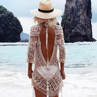 Knit Backless Bikini Cover Up Beachwear