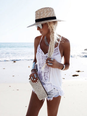 Ladies leisure vacation loose fashion hot sling V-neck sexy beach lace stitching sling top Haut bretelles en dentelle