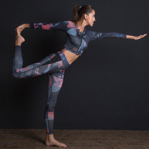 Sport Suit Print Fitness Suit Leggings Breathable Yoga Set 2 Piece Zipper Sportswear T-shirt Sport Pants Tracksuit For Women