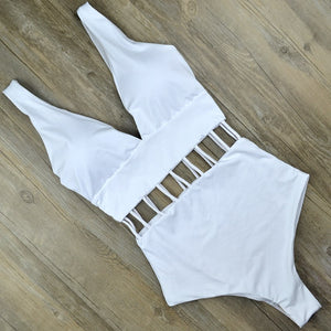 Sexy Deep V One Piece Swimsuit White Monokini Thong Swimwear Women Trikini Hollow Out Swim wear Bathing Suit Mujer Triquini