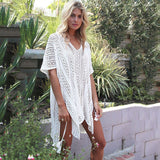 Swimwear 2018 Swimsuit Women Cover Ups Sleeve Kaftan Beach Dress Robe De Plage Solid White Cotton Pareo Beach Cover Up
