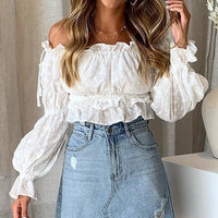Vintage White Embroidery Women Crop Tops and Blouse 2019 NEW Off Shoulder Slash Neck Blouse Girl Lantern Sleeve Shirt