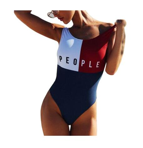 Patchwork New Thong One Piece Swimsuit Sexy Halter Fused Swimwear Women Brazilian Bathing Suits Bather Monokini Beachwear
