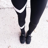 Arrow Print Yoga Legging Pants Black White Patchwork Gym Clothes Legging Sport Women Running Tights Sport Yoga Pants