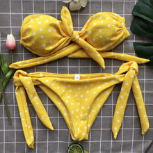 Women Sexy Dot Printed Bikini Set Push-Up Padded Bow Swimwears Swimsuit Beachwear Sexy Women's Swimsuits