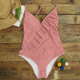One-piece Swimsuit Women Ruffle V-neck Monokini Beach Bathing Suit Swimwear Cross Back Blue Red Striped Print