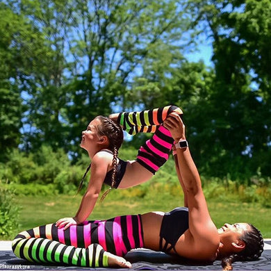 Sexy Women Yoga Pants Sports Colorful Stripe High Waist Fitness Running Stretch Mother Daughter Matching Leggings Trousers