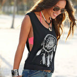 Women Tank Tops Short Vest Dreamcatcher Printed Sleeveless Summer New Black O-Neck Crop Top Casual Cool Girl Hip Hop Tees