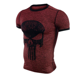 Punisher Running Shirt Men T-shirt Short Sleeve Compression Shirts Gym T Shirt Fitness Sport Shirt