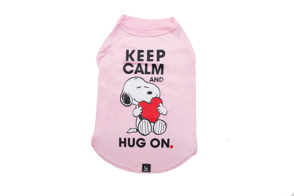 T-SHIRT PINK SNOOPY KEEP CALM HUG ON - Zooz Pets