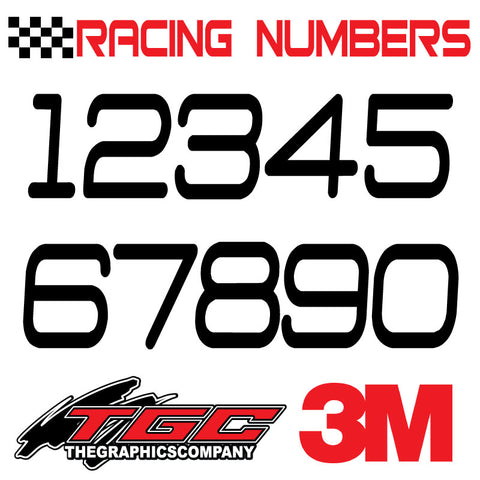 Racing Numbers Vinyl Decals Stickers DThree  3 pack