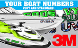 Brushed Aluminum with Green Boat Registration Numbers