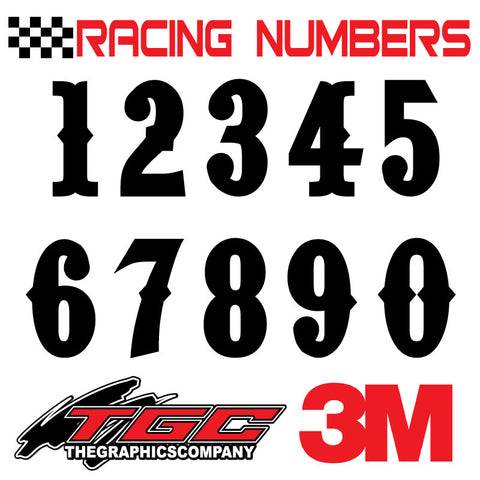 Racing Numbers Vinyl Decals Stickers Pointedly Mad 3 pack