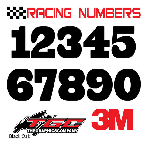 Racing Numbers Vinyl Decals Stickers Black Oak 3 pack