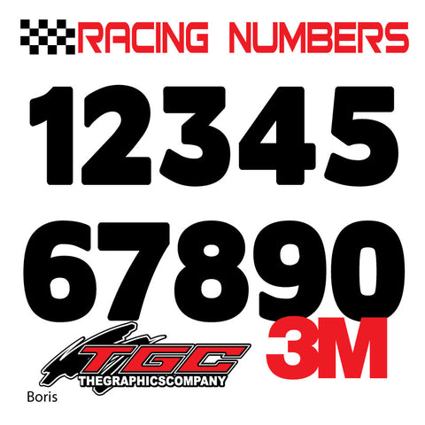 Racing Numbers Vinyl Decals Stickers Boris 3 pack