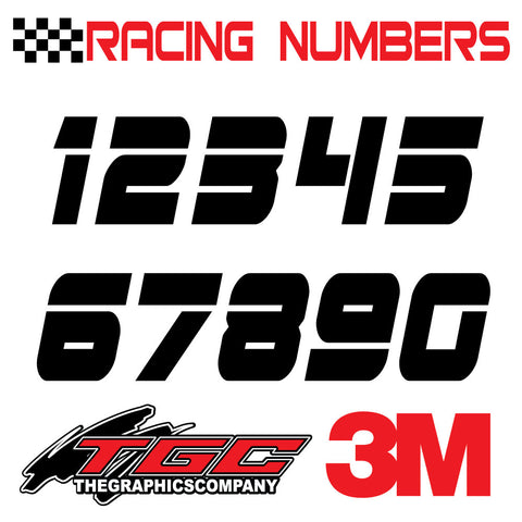 Racing Numbers Vinyl Decals Stickers Edje 3 pack