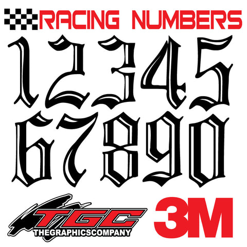 Racing Numbers Vinyl Decals Stickers Incised 3 pack