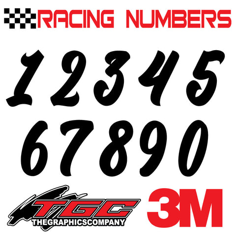 Racing Numbers Vinyl Decals Stickers Kadisika 3 pack