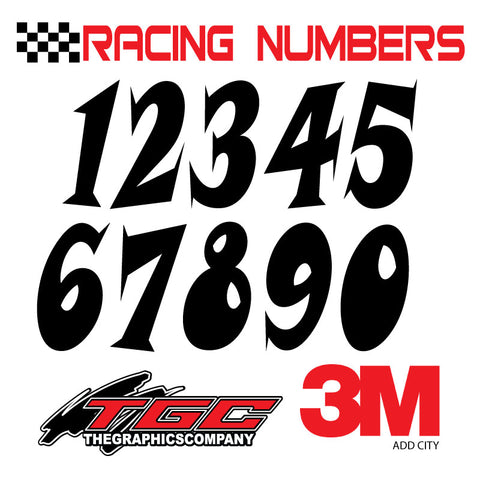 Racing Numbers Vinyl Decals Stickers Snap 3 pack