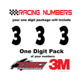 Racing Numbers Vinyl Decals Stickers Anakeim one digit pack