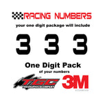 Racing Numbers Vinyl Decals Stickers Bitsumishi one digit pack
