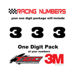 Racing Numbers Vinyl Decals Stickers Black Oak 1 digit pack
