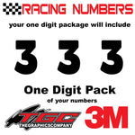 Racing Numbers Vinyl Decals Stickers Boris 1 digit pack