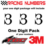 Racing Numbers Vinyl Decals Stickers Juiced 3 pack