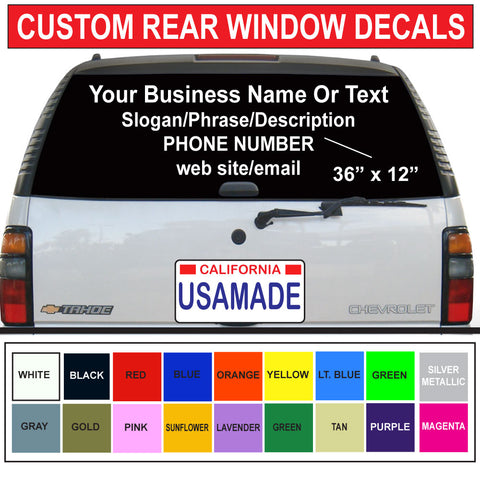 "36"" x 12"" Rear Car/Truck Window Graphics"